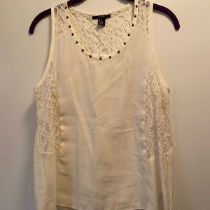 Forever21 cream lace tank size S